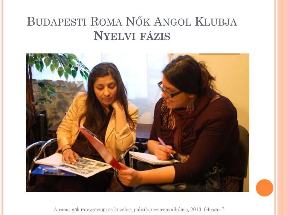 B UDAPESTI R OMA N ŐK A NGOL K LUBJA N YELVI FÁZIS A roma nők integrációja és közéleti, politikai szerepvállalása, 2013.