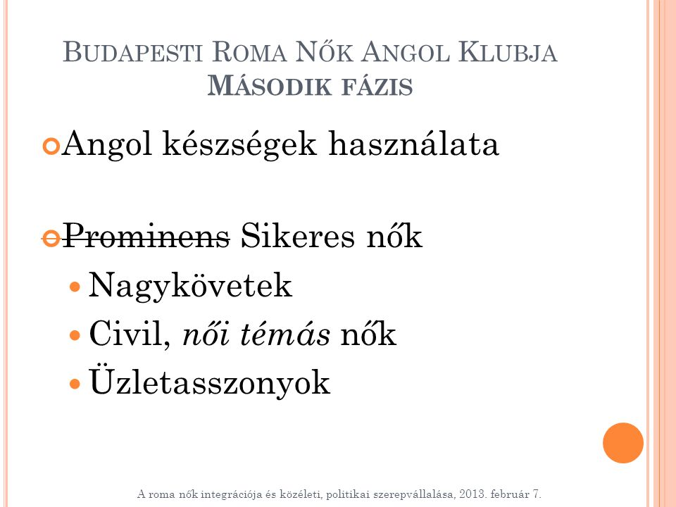 B UDAPESTI R OMA N ŐK A NGOL K LUBJA M ÁSODIK FÁZIS Angol készségek használata Prominens Sikeres nők Nagykövetek Civil, női témás nők Üzletasszonyok A roma nők integrációja és közéleti, politikai szerepvállalása, 2013.
