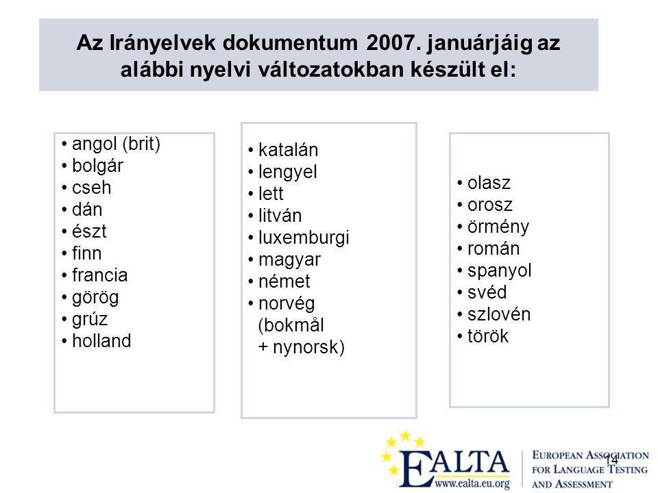 14 angol (brit) bolgár cseh dán észt finn francia görög grúz holland katalán lengyel lett litván luxemburgi magyar német norvég (bokmål + nynorsk) olasz orosz örmény román spanyol svéd szlovén török Az Irányelvek dokumentum 2007.