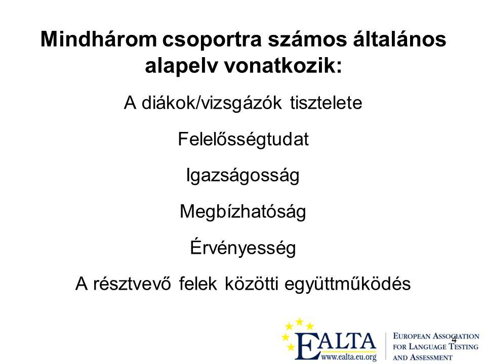 5 Az EALTA irányelvei a nyelvi mérés és értékelés jó gyakorlatához