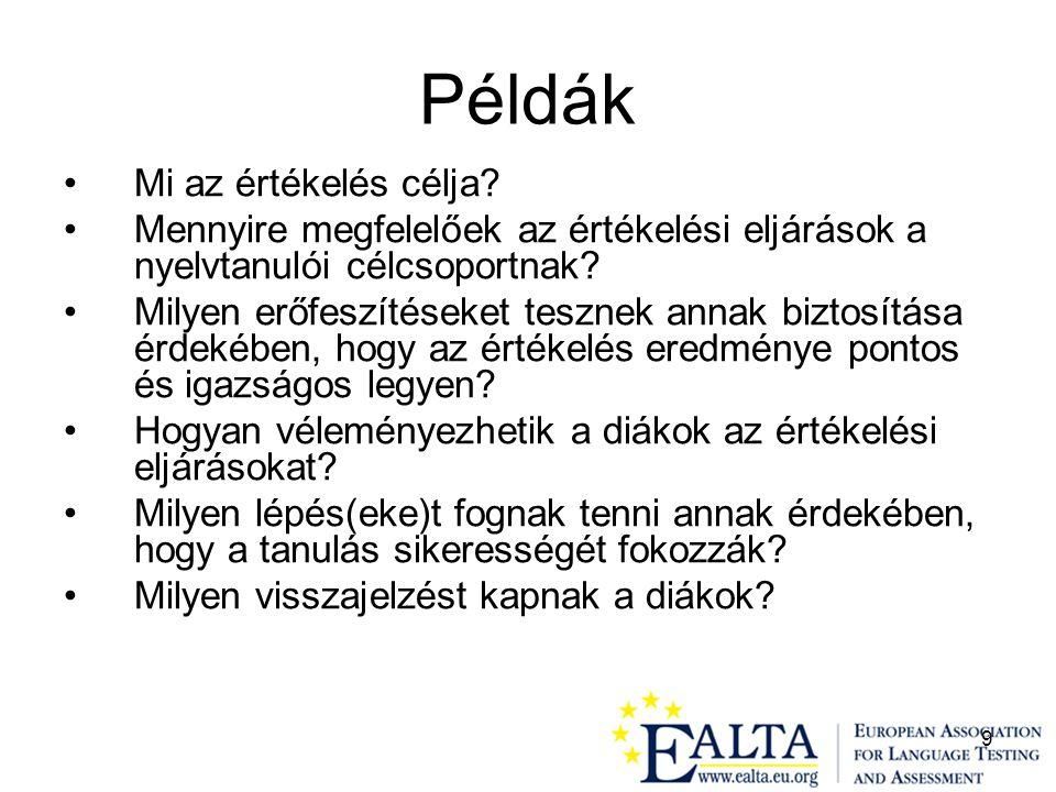 10 Azok az EALTA tagok, akik tesztfejlesztő munkában vesznek részt, tisztázzák a maguk és az érintett felek (tanárok, diákok, a szélesebb közönség) számára az alábbi kérdéseket.