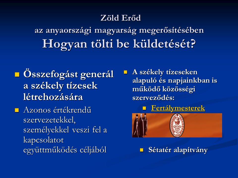 Zöld Erőd az anyaországi magyarság megerősítésében Hogyan tölti be küldetését.
