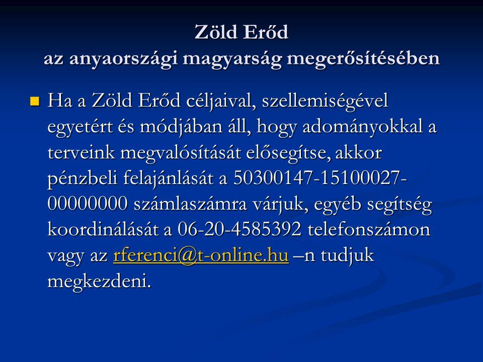 Zöld Erőd az anyaországi magyarság megerősítésében Ha a Zöld Erőd céljaival, szellemiségével egyetért és módjában áll, hogy adományokkal a terveink megvalósítását elősegítse, akkor pénzbeli felajánlását a 50300147-15100027- 00000000 számlaszámra várjuk, egyéb segítség koordinálását a 06-20-4585392 telefonszámon vagy az rferenci@t-online.hu –n tudjuk megkezdeni.