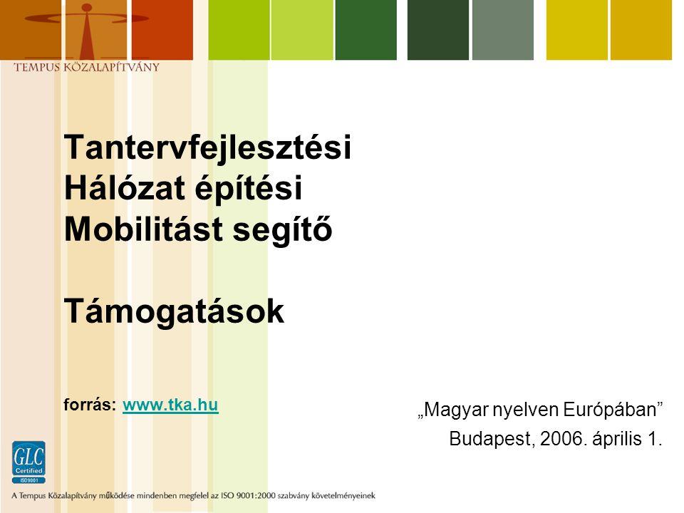 """Tantervfejlesztési Hálózat építési Mobilitást segítő Támogatások forrás: www.tka.huwww.tka.hu """"Magyar nyelven Európában Budapest, 2006."""