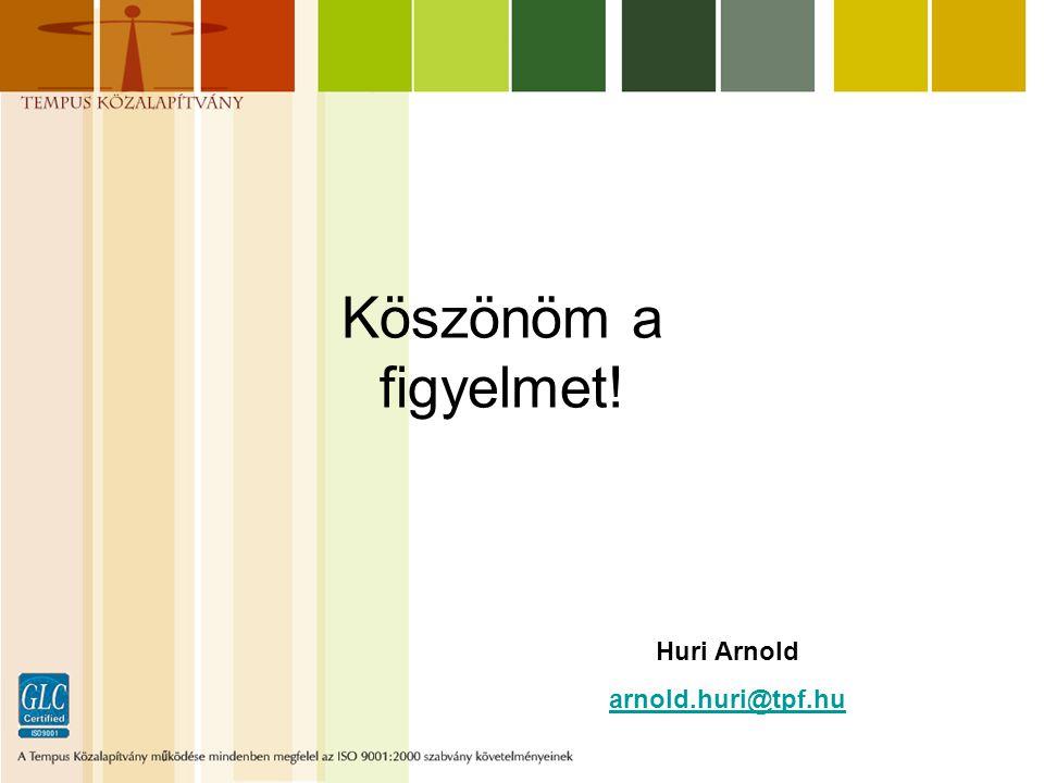 Köszönöm a figyelmet! Huri Arnold arnold.huri@tpf.hu