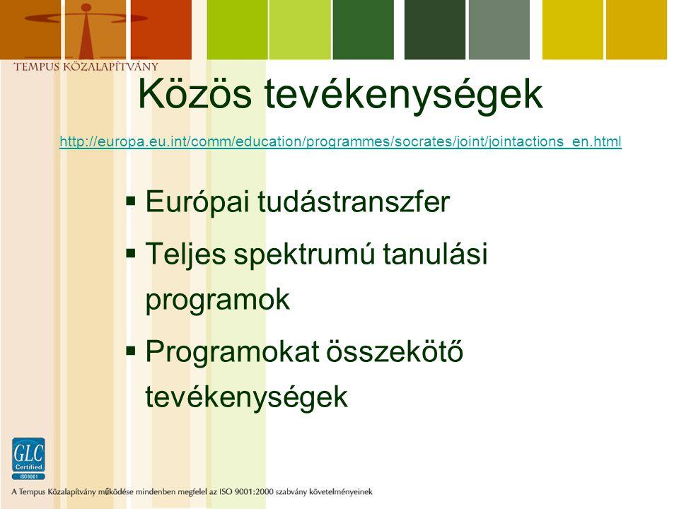 Közös tevékenységek http://europa.eu.int/comm/education/programmes/socrates/joint/jointactions_en.html http://europa.eu.int/comm/education/programmes/socrates/joint/jointactions_en.html  Európai tudástranszfer  Teljes spektrumú tanulási programok  Programokat összekötő tevékenységek
