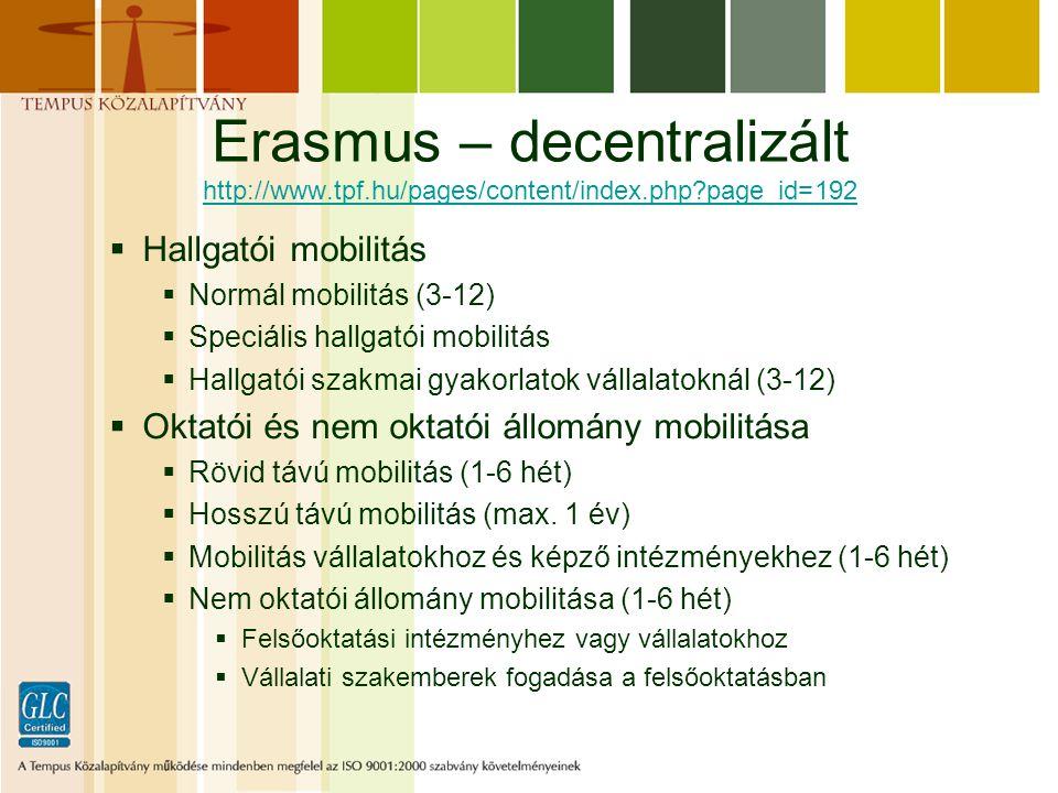 Erasmus – decentralizált http://www.tpf.hu/pages/content/index.php page_id=192 http://www.tpf.hu/pages/content/index.php page_id=192  Hallgatói mobilitás  Normál mobilitás (3-12)  Speciális hallgatói mobilitás  Hallgatói szakmai gyakorlatok vállalatoknál (3-12)  Oktatói és nem oktatói állomány mobilitása  Rövid távú mobilitás (1-6 hét)  Hosszú távú mobilitás (max.
