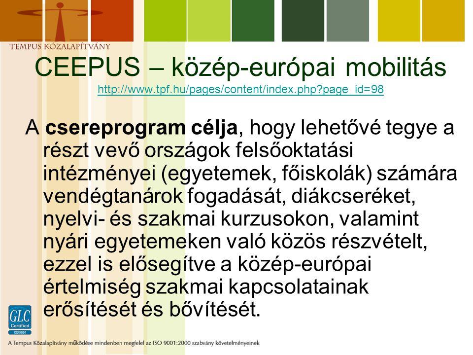 CEEPUS – közép-európai mobilitás http://www.tpf.hu/pages/content/index.php?page_id=98 http://www.tpf.hu/pages/content/index.php?page_id=98 A csereprogram célja, hogy lehetővé tegye a részt vevő országok felsőoktatási intézményei (egyetemek, főiskolák) számára vendégtanárok fogadását, diákcseréket, nyelvi- és szakmai kurzusokon, valamint nyári egyetemeken való közös részvételt, ezzel is elősegítve a közép-európai értelmiség szakmai kapcsolatainak erősítését és bővítését.