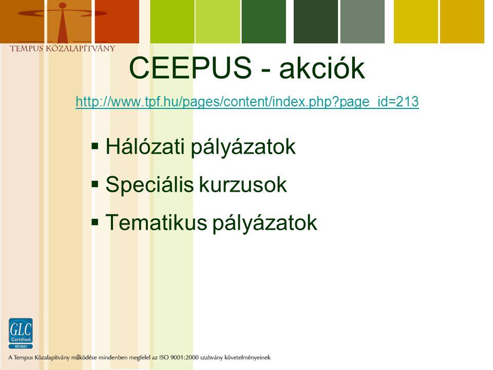CEEPUS - akciók http://www.tpf.hu/pages/content/index.php?page_id=213 http://www.tpf.hu/pages/content/index.php?page_id=213  Hálózati pályázatok  Speciális kurzusok  Tematikus pályázatok