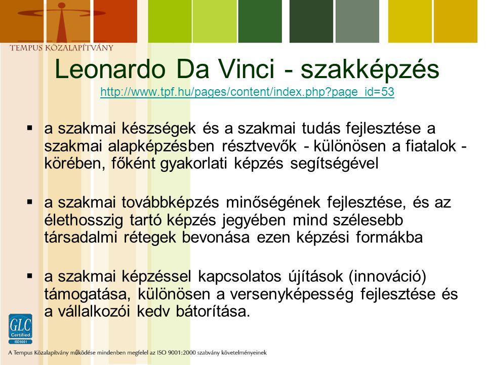 Leonardo Da Vinci - szakképzés http://www.tpf.hu/pages/content/index.php?page_id=53 http://www.tpf.hu/pages/content/index.php?page_id=53  a szakmai készségek és a szakmai tudás fejlesztése a szakmai alapképzésben résztvevők - különösen a fiatalok - körében, főként gyakorlati képzés segítségével  a szakmai továbbképzés minőségének fejlesztése, és az élethosszig tartó képzés jegyében mind szélesebb társadalmi rétegek bevonása ezen képzési formákba  a szakmai képzéssel kapcsolatos újítások (innováció) támogatása, különösen a versenyképesség fejlesztése és a vállalkozói kedv bátorítása.