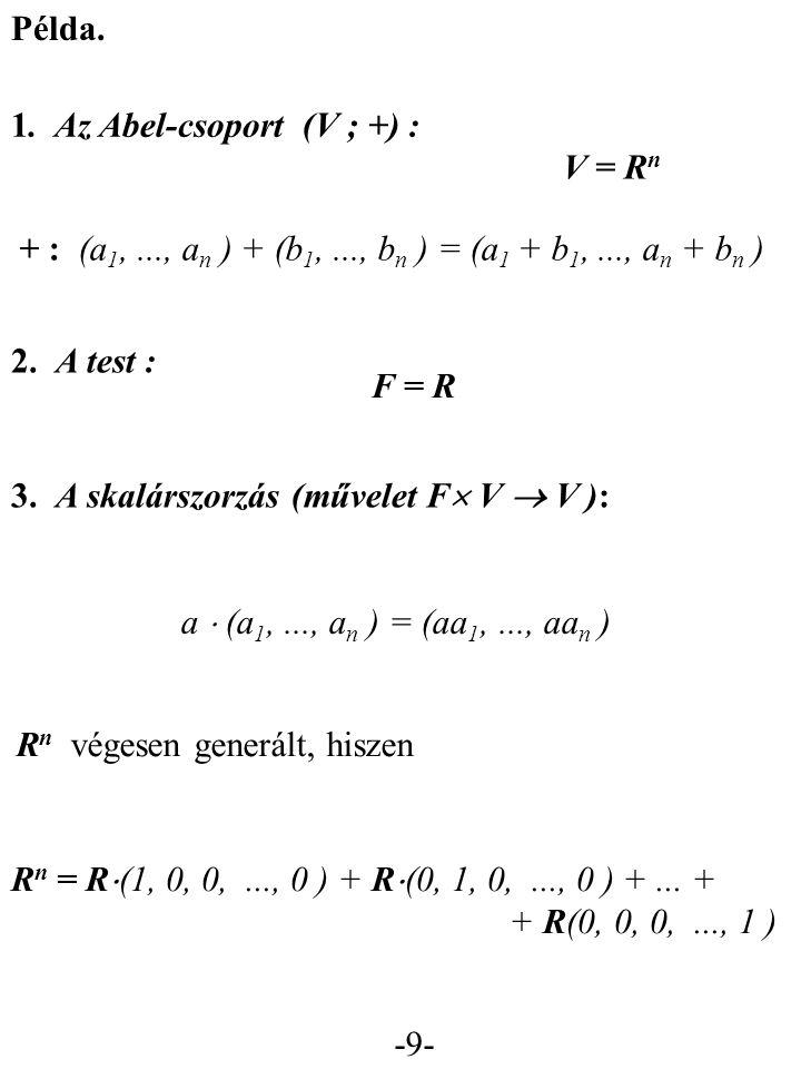 -10- Bizonyítható :  V  { 0 } vektortérhez  v 1,..., v n  V : V  eleme egyértelműen írható fel ilyen alakban: a 1  v 1 +...+ a n  v n V vektortér { v 1,..., v n } nemüres részhalmaza lineárisan független, ha