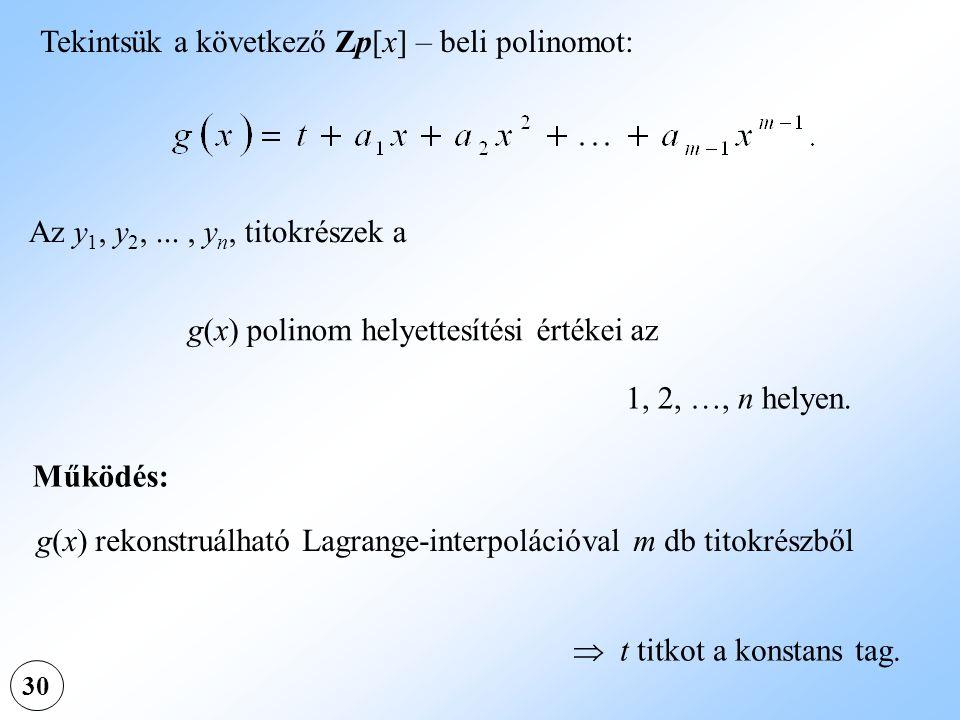30 Az y 1, y 2,..., y n, titokrészek a g(x) polinom helyettesítési értékei az 1, 2, …, n helyen.