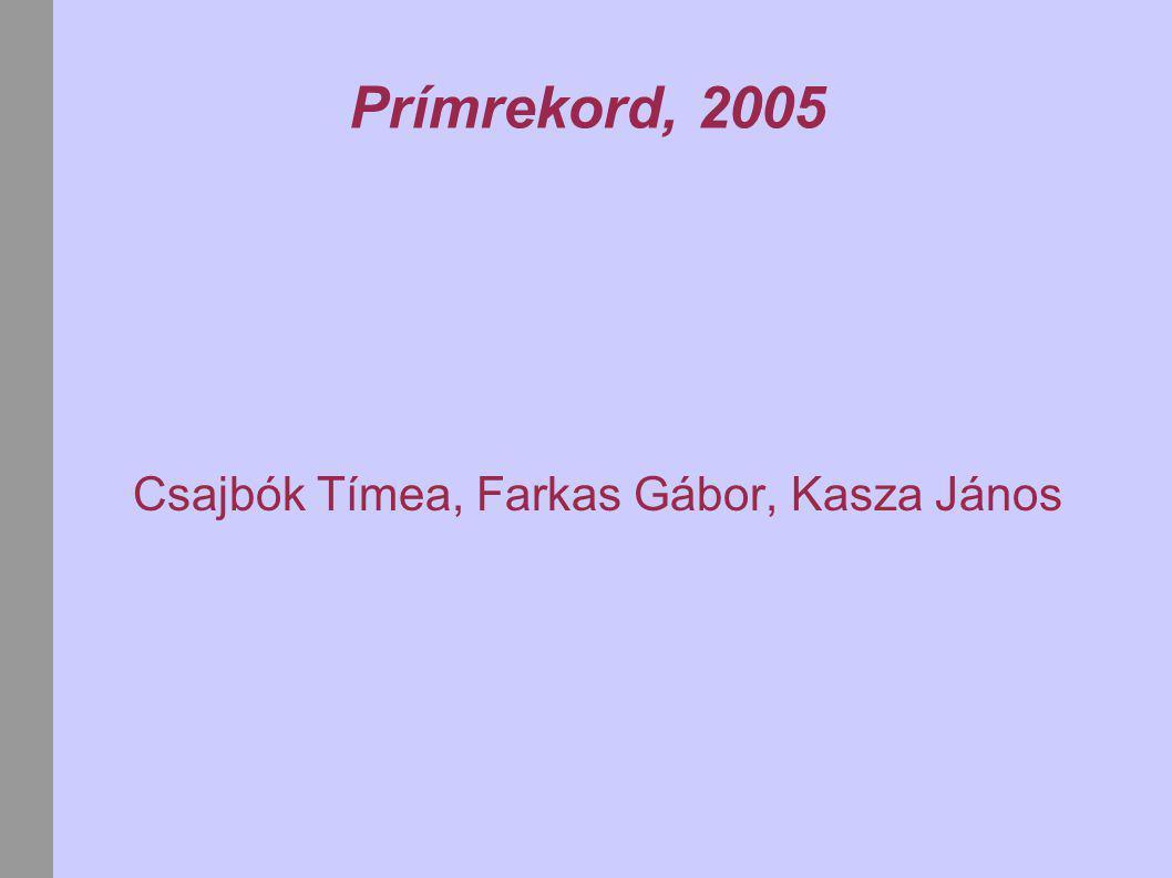 Prímrekord, 2005 Csajbók Tímea, Farkas Gábor, Kasza János
