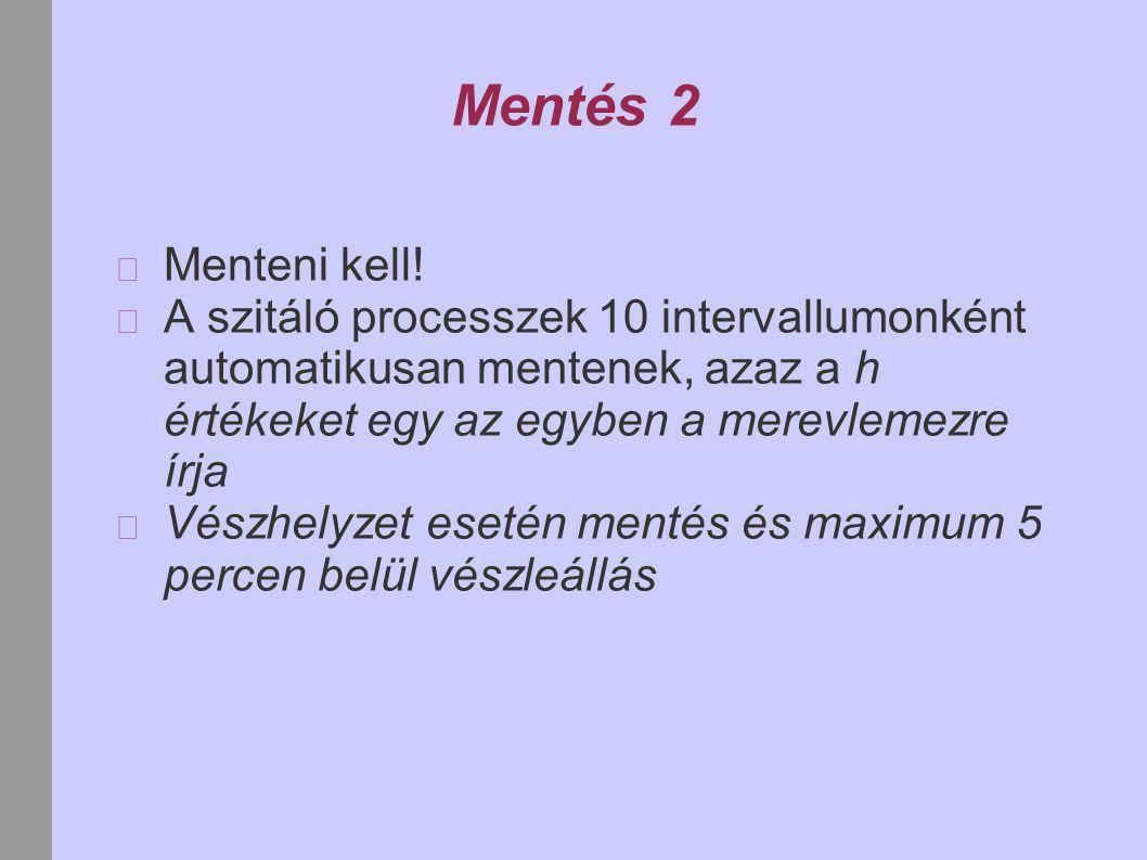 Mentés 2 Menteni kell! A szitáló processzek 10 intervallumonként automatikusan mentenek, azaz a h értékeket egy az egyben a merevlemezre írja Vészhely