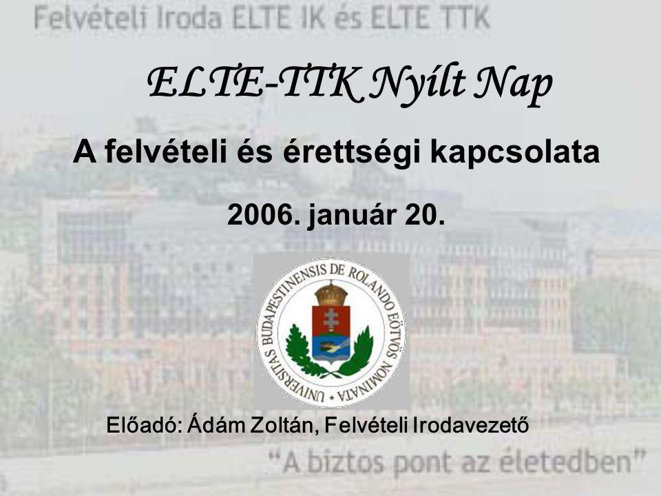 A felvételi és érettségi kapcsolata 2006. január 20. Előadó: Ádám Zoltán, Felvételi Irodavezető ELTE-TTK Nyílt Nap