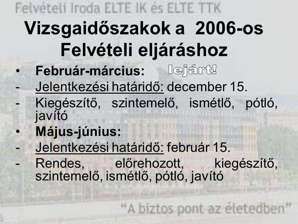 Vizsgaidőszakok a 2006-os Felvételi eljáráshoz Február-március: -Jelentkezési határidő: december 15. -Kiegészítő, szintemelő, ismétlő, pótló, javító M