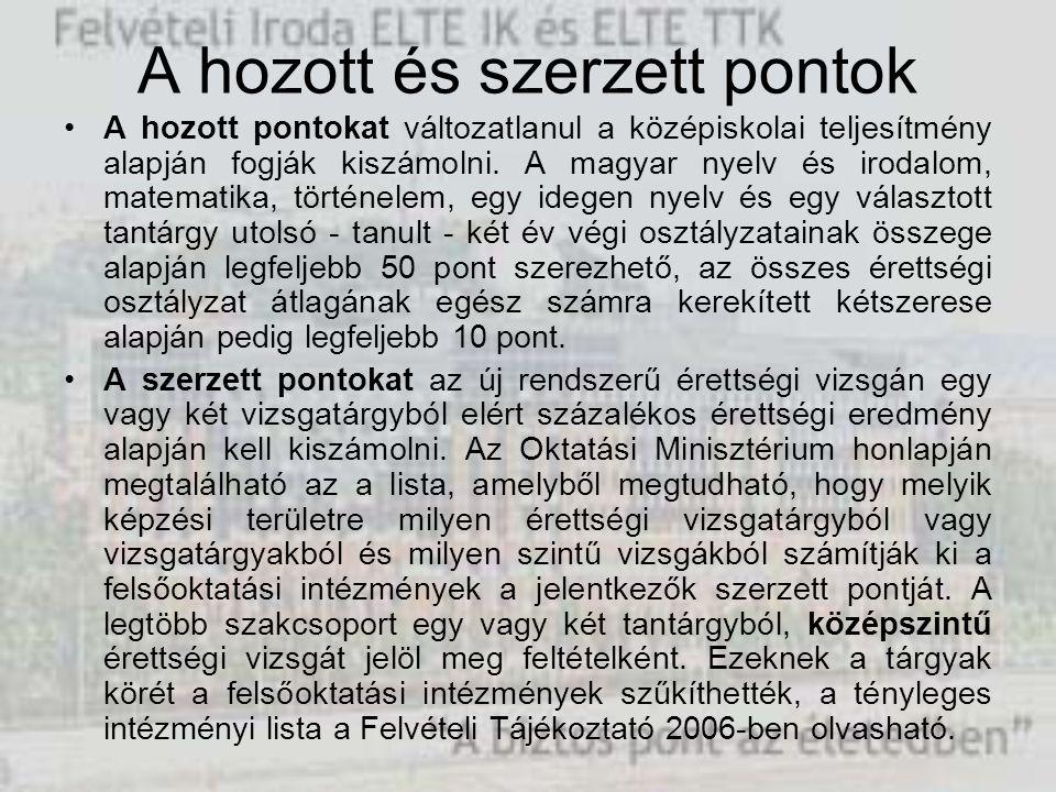 A hozott és szerzett pontok A hozott pontokat változatlanul a középiskolai teljesítmény alapján fogják kiszámolni. A magyar nyelv és irodalom, matemat