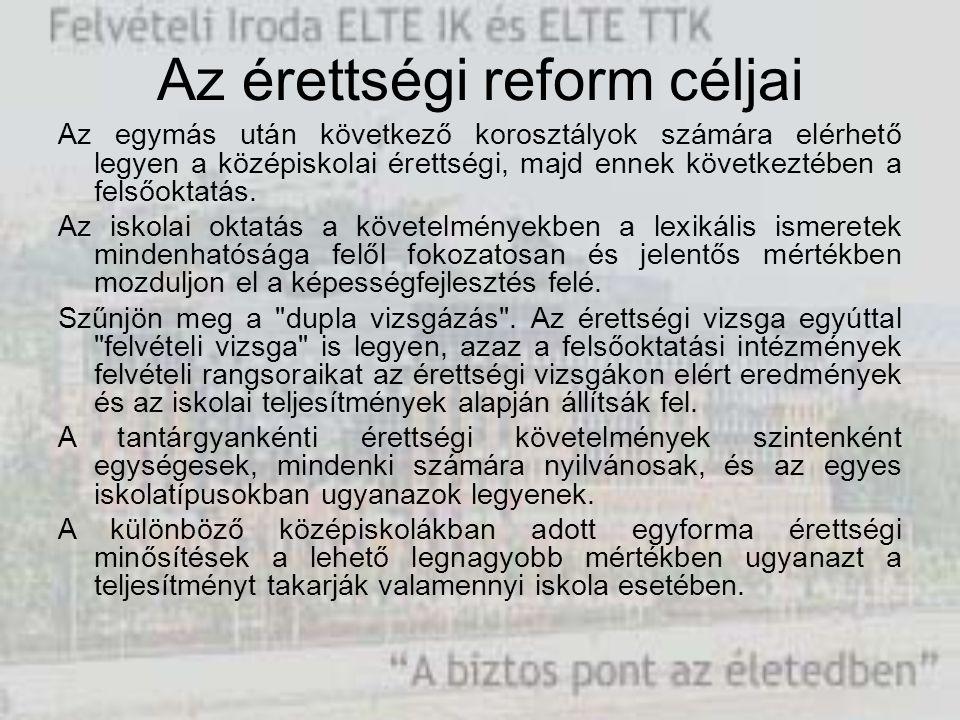 Az érettségi reform céljai Az egymás után következő korosztályok számára elérhető legyen a középiskolai érettségi, majd ennek következtében a felsőokt