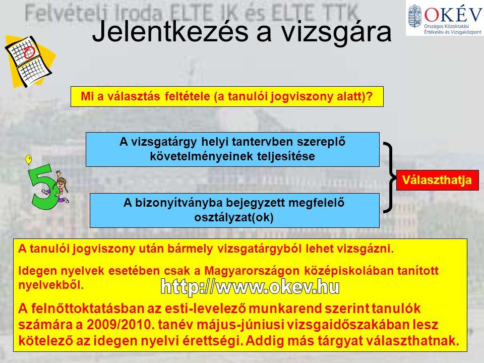 Jelentkezés a vizsgára Mi a választás feltétele (a tanulói jogviszony alatt).