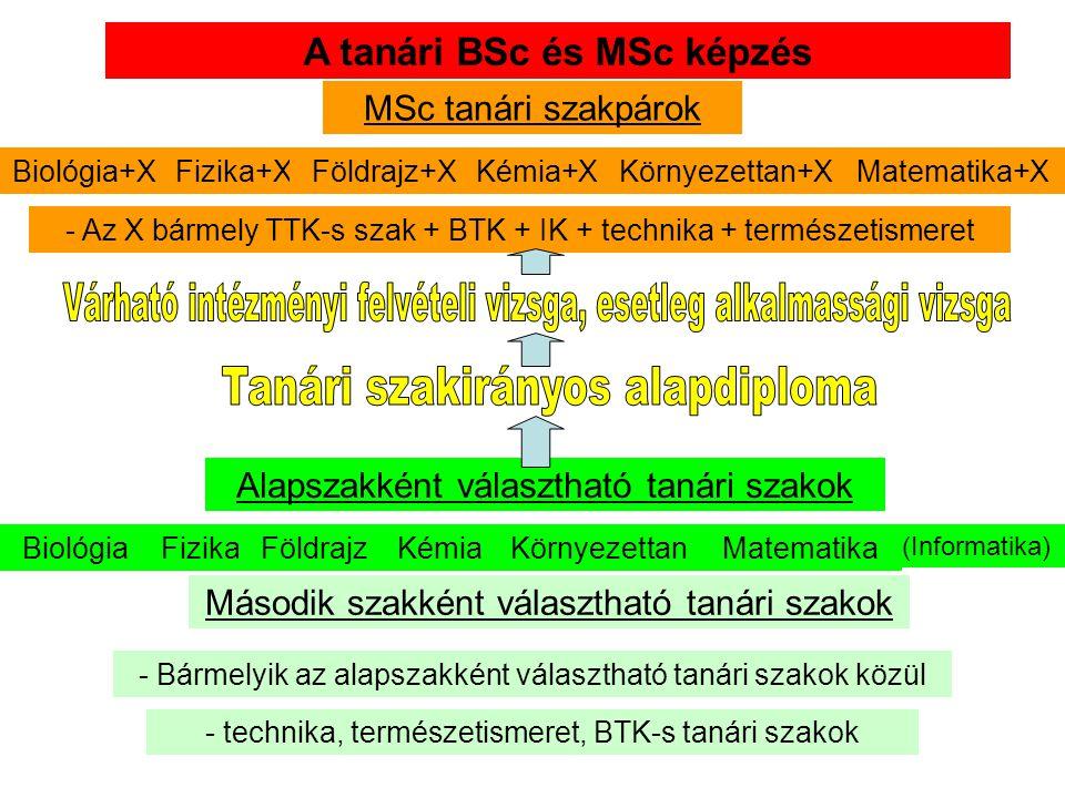 A BSc tanári alapszak és a kétszakos tanári MSc képzés kapcsolata