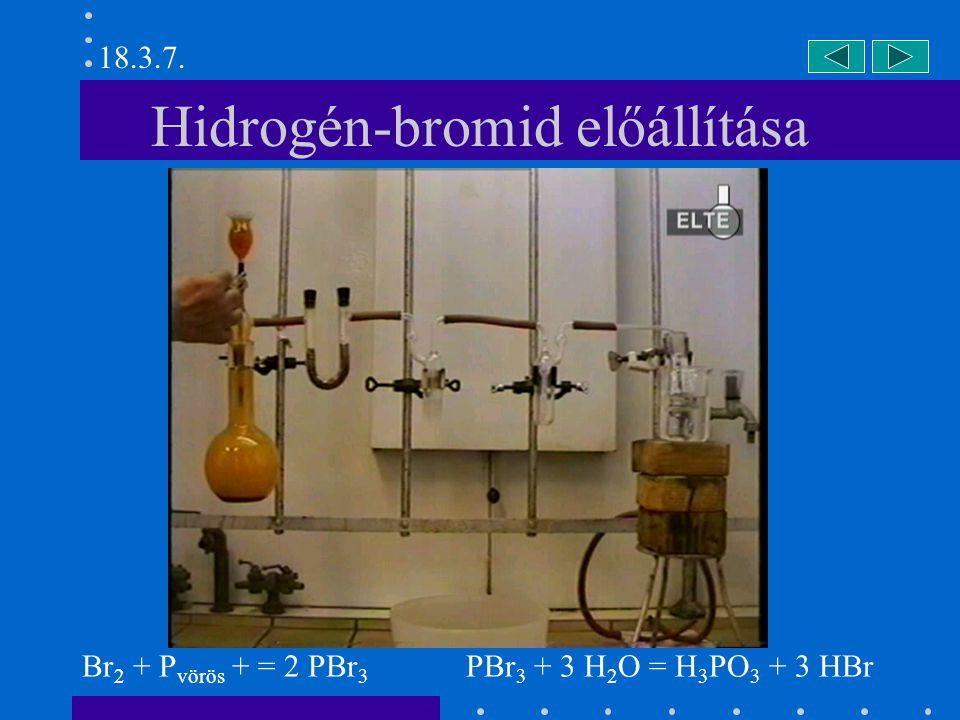 Hidrogén-jodid előállítása (I) I 2 + P vörös + = 2 PI 3 PI 3 + 3 H 2 O = H 3 PO 3 + 3 HI 18.3.8.