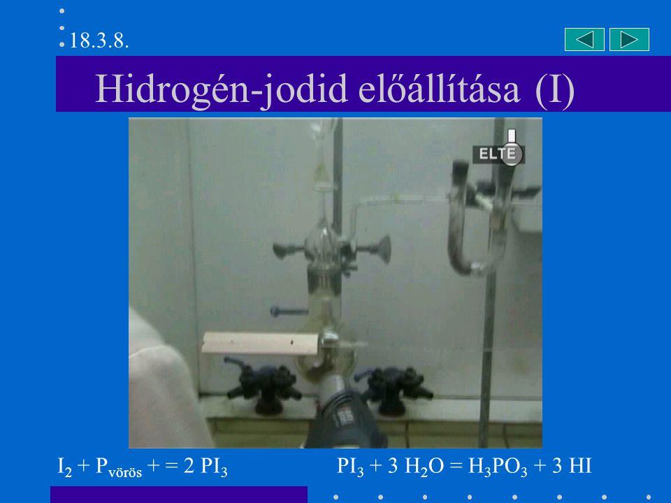 Hidrogén-jodid előállítása (II) I 2 + P vörös + = 2 PI 3 PI 3 + 3 H 2 O = H 3 PO 3 + 3 HI 18.3.8.
