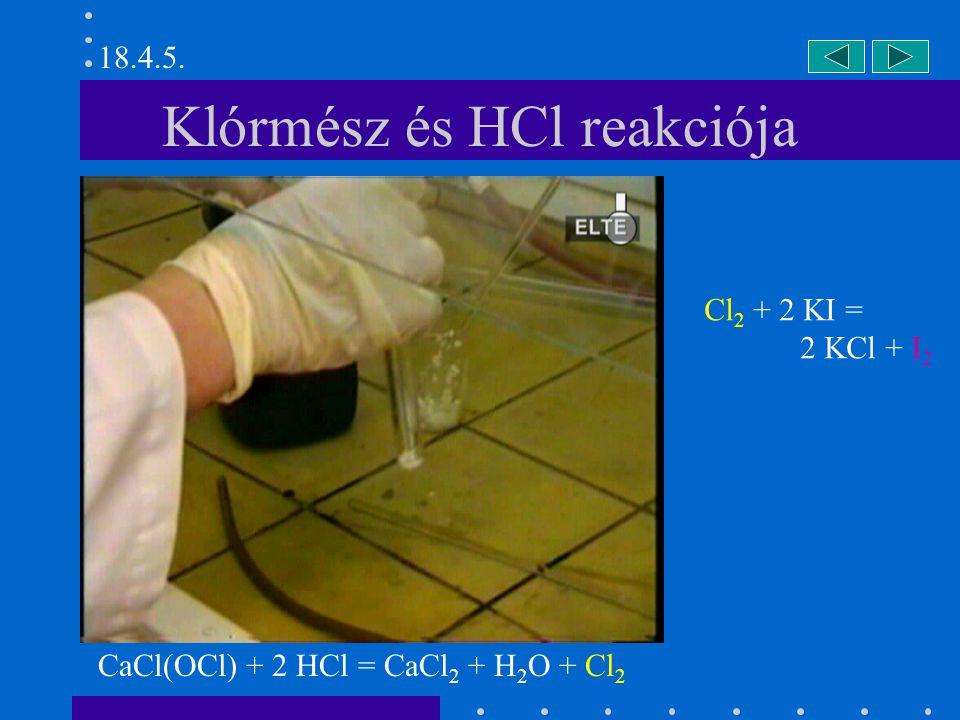Klórmész és HCl reakciója CaCl(OCl) + 2 HCl = CaCl 2 + H 2 O + Cl 2 Cl 2 + 2 KI = 2 KCl + I 2 18.4.5.