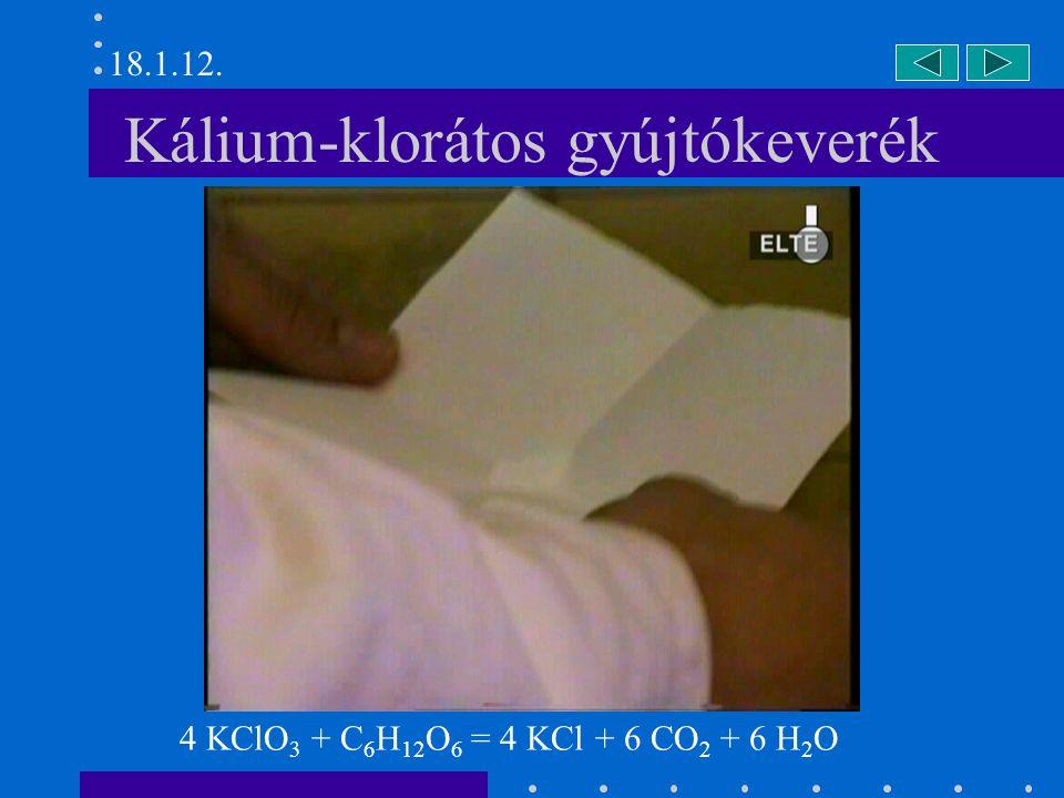 Kálium-klorátos gyújtókeverék 4 KClO 3 + C 6 H 12 O 6 = 4 KCl + 6 CO 2 + 6 H 2 O 18.1.12.
