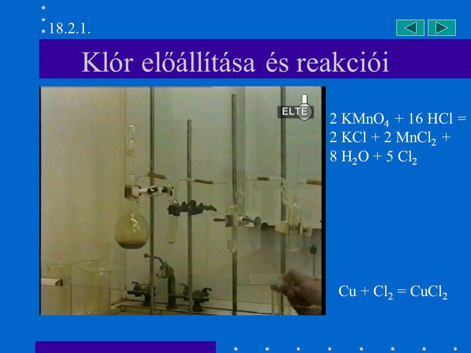 Klór előállítása és reakciói Cu + Cl 2 = CuCl 2 2 KMnO 4 + 16 HCl = 2 KCl + 2 MnCl 2 + 8 H 2 O + 5 Cl 2 18.2.1.