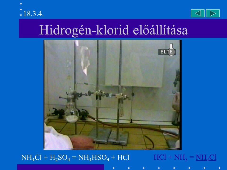 Sósav-szökőkút HCl + H 2 O = H 3 O + + Cl - 18.3.5.