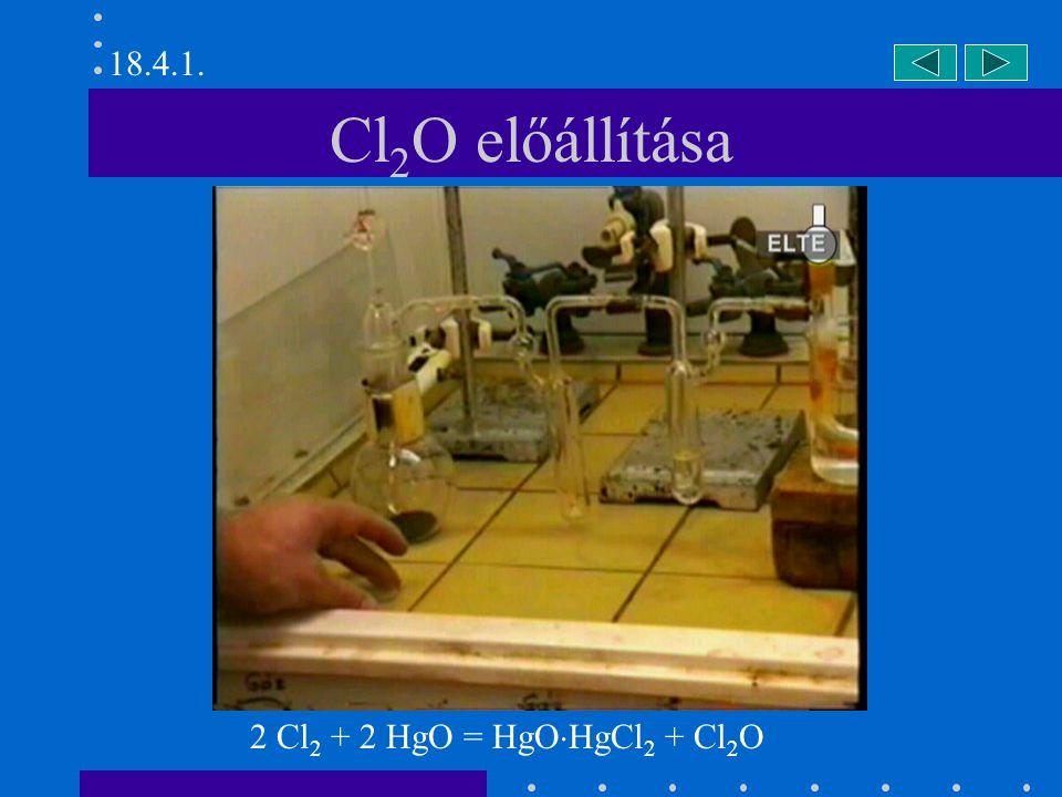 Nátrium-hipoklorit előállítása Cl 2 + 2 NaOH = NaCl + NaOCl + H 2 O 18.4.4.a.