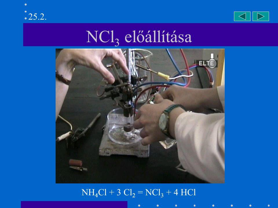 NCl 3 előállítása NH 4 Cl + 3 Cl 2 = NCl 3 + 4 HCl 25.2.