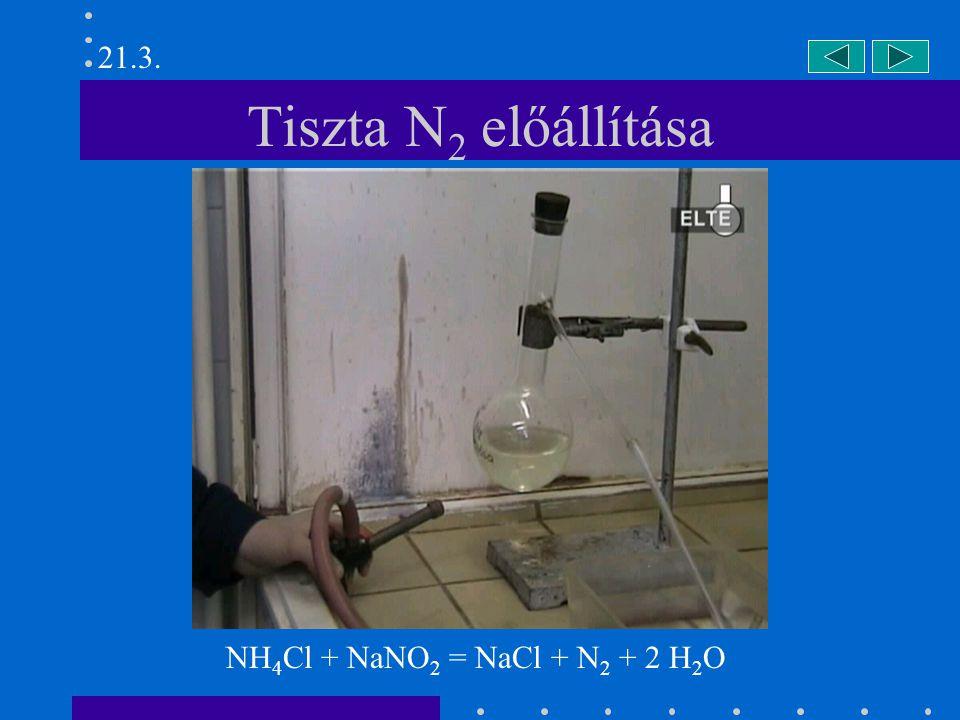 Tiszta N 2 előállítása NH 4 Cl + NaNO 2 = NaCl + N 2 + 2 H 2 O 21.3.