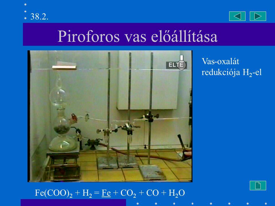 Piroforos vas előállítása Fe(COO) 2 + H 2 = Fe + CO 2 + CO + H 2 O 38.2.