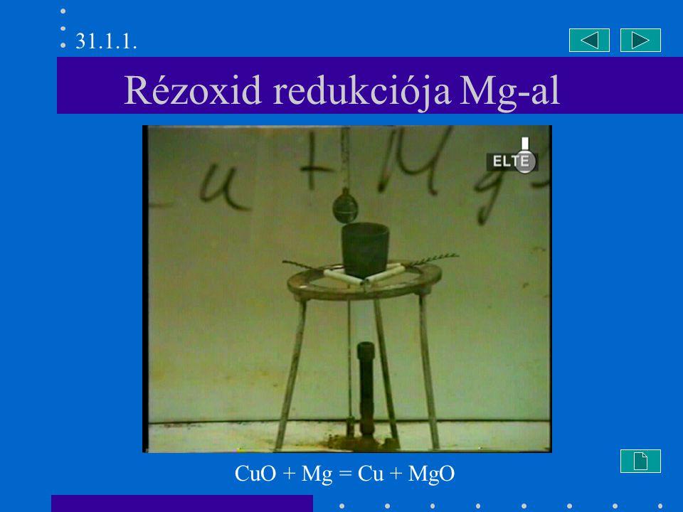 Rézoxid redukciója Mg-al CuO + Mg = Cu + MgO 31.1.1.