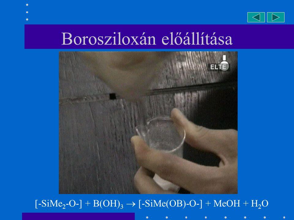 Borosziloxán előállítása [-SiMe 2 -O-] + B(OH) 3  [-SiMe(OB)-O-] + MeOH + H 2 O