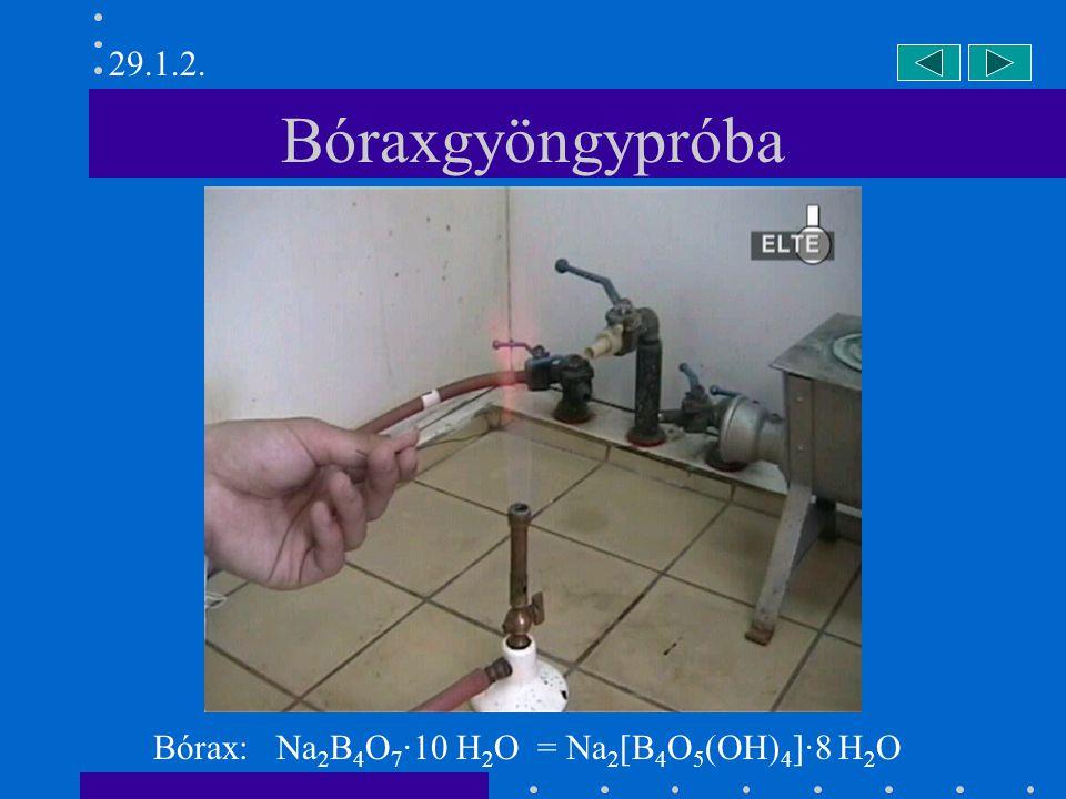 Bóraxgyöngypróba Bórax: Na 2 B 4 O 7 ·10 H 2 O = Na 2 [B 4 O 5 (OH) 4 ]·8 H 2 O 29.1.2.