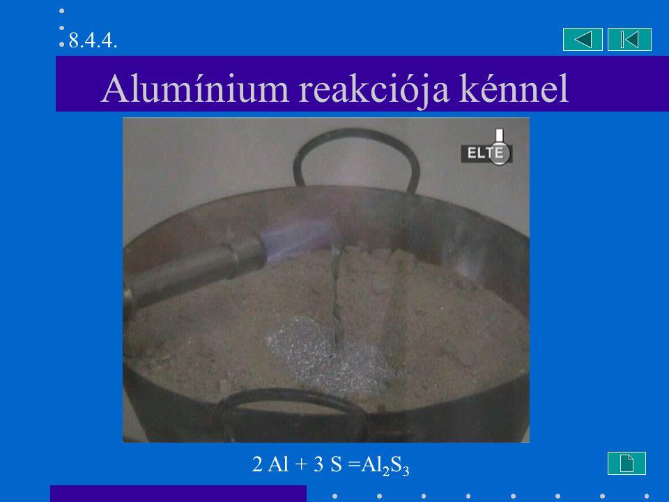 Alumínium reakciója kénnel 2 Al + 3 S =Al 2 S 3 8.4.4.