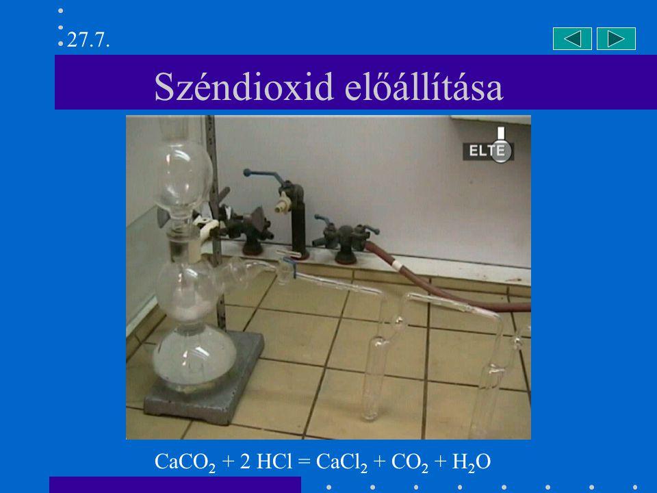 Széndioxid előállítása CaCO 2 + 2 HCl = CaCl 2 + CO 2 + H 2 O 27.7.