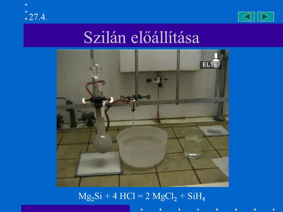 Szilán előállítása Mg 2 Si + 4 HCl = 2 MgCl 2 + SiH 4 27.4.