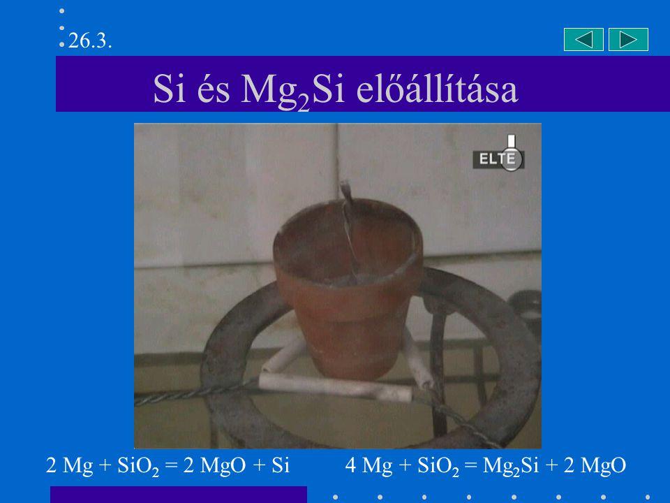 Si és Mg 2 Si előállítása 2 Mg + SiO 2 = 2 MgO + Si 4 Mg + SiO 2 = Mg 2 Si + 2 MgO 26.3.