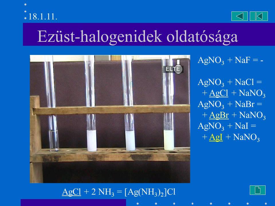 Ezüst-halogenidek oldatósága AgNO 3 + NaF = - AgNO 3 + NaCl = + AgCl + NaNO 3 AgNO 3 + NaBr = + AgBr + NaNO 3 AgNO 3 + NaI = + AgI + NaNO 3 AgCl + 2 N