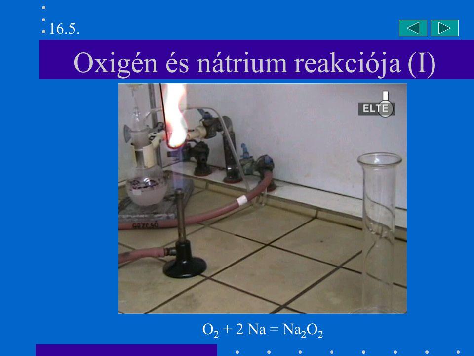 Oxigén és nátrium reakciója (II) 16.5. O 2 + 2 Na = Na 2 O 2