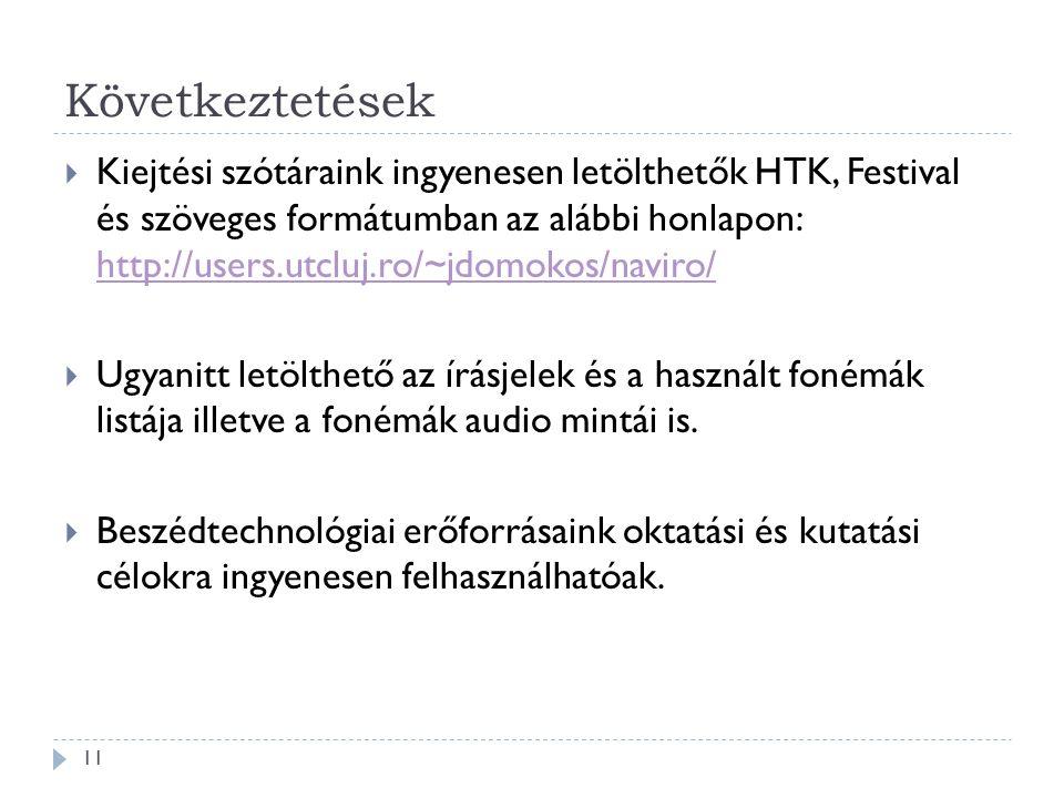 Következtetések 11  Kiejtési szótáraink ingyenesen letölthetők HTK, Festival és szöveges formátumban az alábbi honlapon: http://users.utcluj.ro/~jdomokos/naviro/ http://users.utcluj.ro/~jdomokos/naviro/  Ugyanitt letölthető az írásjelek és a használt fonémák listája illetve a fonémák audio mintái is.