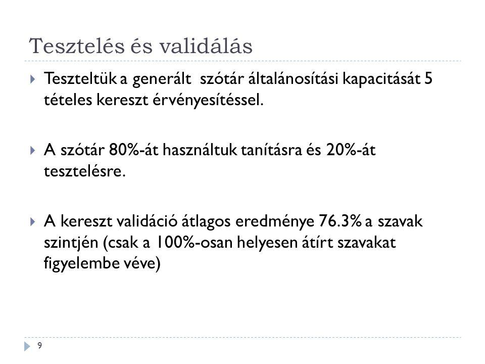 Tesztelés és validálás 9  Teszteltük a generált szótár általánosítási kapacitását 5 tételes kereszt érvényesítéssel.  A szótár 80%-át használtuk tan