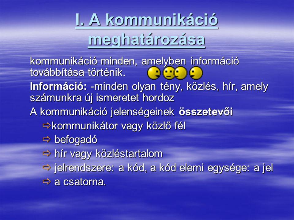 I.A kommunikáció meghatározása kommunikáció minden, amelyben információ továbbítása történik.