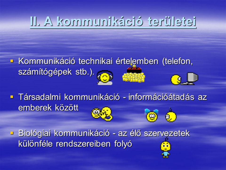 II.A kommunikáció területei II.