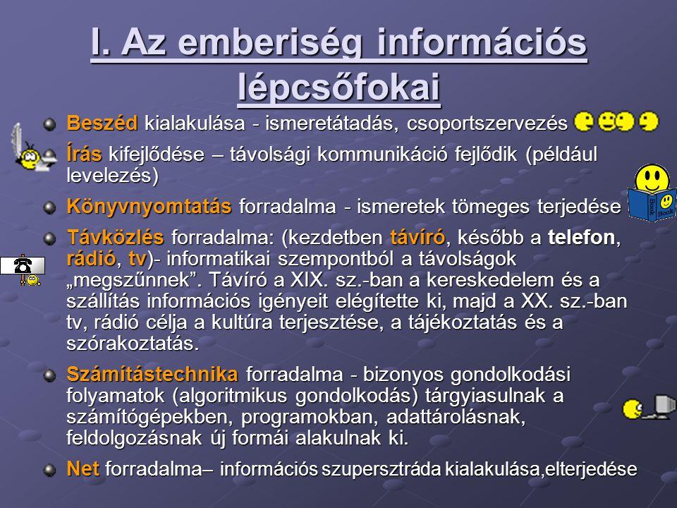 I. Az emberiség információs lépcsőfokai Beszéd kialakulása - ismeretátadás, csoportszervezés Írás kifejlődése – távolsági kommunikáció fejlődik (példá