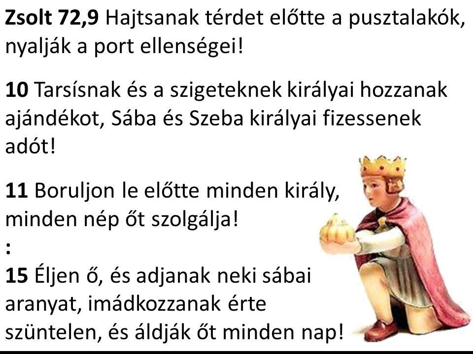 Zsolt 72,9 Hajtsanak térdet előtte a pusztalakók, nyalják a port ellenségei! 10 Tarsísnak és a szigeteknek királyai hozzanak ajándékot, Sába és Szeba