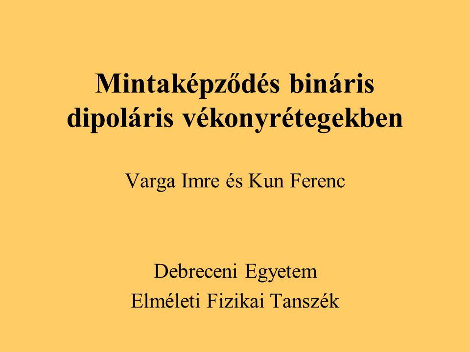 Mintaképződés bináris dipoláris vékonyrétegekben Varga Imre és Kun Ferenc Debreceni Egyetem Elméleti Fizikai Tanszék